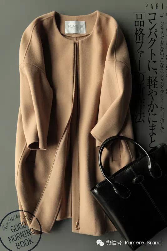 戎美家【DY4120104】时尚新姿态 双面羊毛羊绒 茧型大衣 棕色款