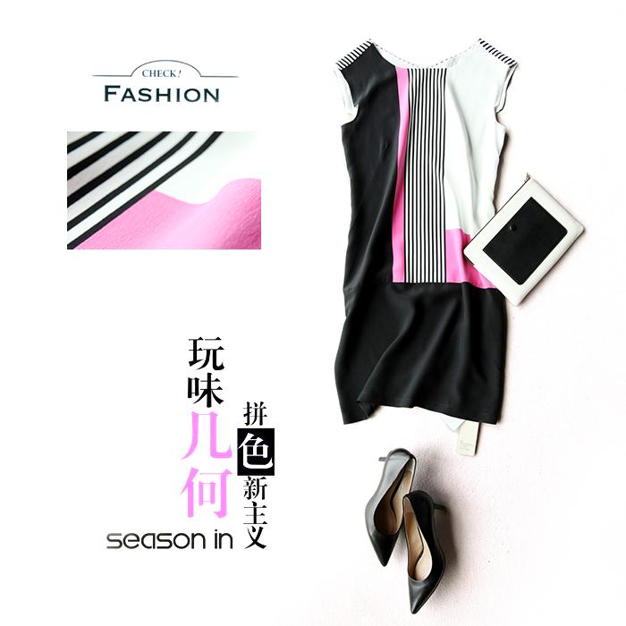 戎美  【QZ4025006】风靡法国15夏D家新品 时尚色块条纹组合 真丝连衣裙