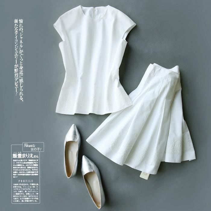 戎美  【CY0418082】奢品D15ss最新 衣摆高清晰绣花 收腰款夏衫