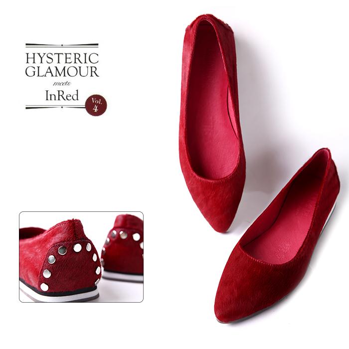 【SH0512233 】新品 奢华马毛 后包铆钉 尖头平底单鞋