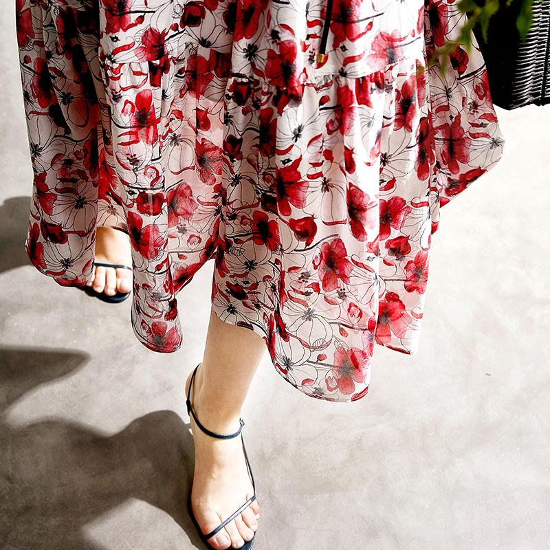 ^@^戎美【QZ0525183】19SS DU家/设计师花型 热情盛夏 真丝连衣裙