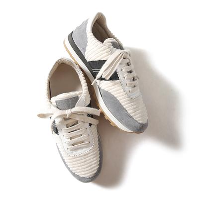 戎美【SH0821173】轻SHE细节!灯芯绒+牛皮侧珠链休闲运动鞋